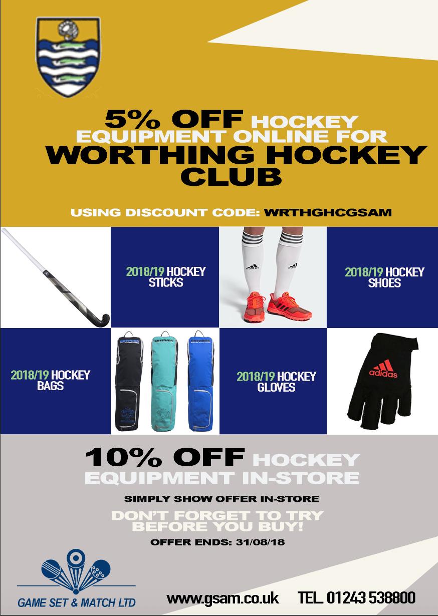 Discount For Club Members Worthing Hockey Club